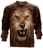 Long Sleeve: Big Face Roaring Lion Shirt