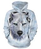 Hoodie: White Wolf DJ Pullover Hoodie