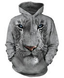 Hoodie: White Tiger Face Pullover Hoodie