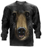 Long Sleeve: Black Bear Face T-Shirt