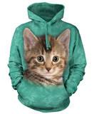 Hoodie: Striped Kitten Pullover Hoodie