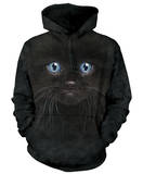 Hoodie: Black Kitten Face - Kapüşonlu Sweatshirt