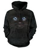 Hoodie: Black Kitten Face Pullover con cappuccio