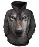 Hoodie: Wolf Face Pullover Hoodie