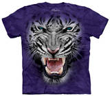 Youth: Raging Big Face White Tiger T-shirts