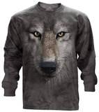 Long Sleeve: Wolf Face - T-shirt