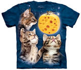Three Kitten Cheese Moon T-Shirt