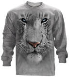Long Sleeve: White Tiger Face T-Shirt