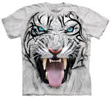 Youth: Big Face Tribal White Tiger T-Shirt