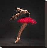Ballet Dancer Red Tutu Stretched Canvas Print