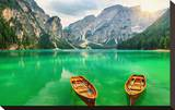 Boats Lake Dolomite Alps Italy Stretched Canvas Print