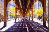 Chicago Street-Elevate Train Stretched Canvas Print