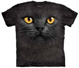 Big Face Black Cat T-skjorte