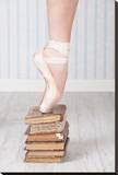 Ballerina Pointe on Old Books Stretched Canvas Print