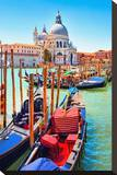 Canal Gondolas & Church Venice Stretched Canvas Print