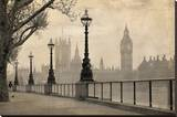 Vintage London Big Ben Thames Stretched Canvas Print