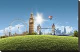 Composition London Landmarks Stretched Canvas Print