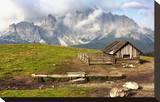 Dolomites With Chalet Italy Stretched Canvas Print