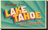 Vintage Card - Lake Tahoe CA Stretched Canvas Print