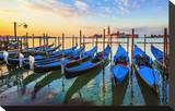 Venice Gondolas Sunrise Italy Stretched Canvas Print