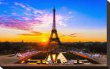 Eiffel Tower At Sunrise Paris Stretched Canvas Print