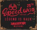 Vintage Motorbike Race Label Stretched Canvas Print