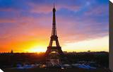 Eiffel Tower at Sunset Paris Stretched Canvas Print