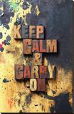 Keep Calm & Carry On-Old Type Stretched Canvas Print