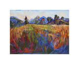 Scarlet Grass in Triptych (center) Giclee Print by Erin Hanson