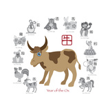 Chinese New Year Ox Color with Twelve Zodiacs Illustration Premium Giclee Print by  jpldesigns