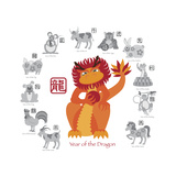 Chinese New Year Dragon Color with Twelve Zodiacs Illustration Reprodukcje autor jpldesigns
