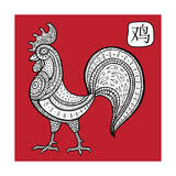 Chinese Zodiac. Animal Astrological Sign. Cock. Poster di  Katyau
