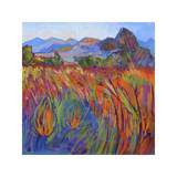 Scarlet Grass in Triptych (right) Giclee Print by Erin Hanson
