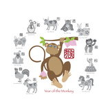 Chinese New Year Monkey Color with Twelve Zodiacs Illustration Premium Giclee Print by  jpldesigns