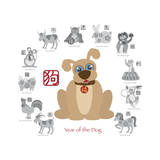 Chinese New Year Dog Color with Twelve Zodiacs Illustration Print by  jpldesigns