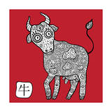 Chinese Zodiac. Animal Astrological Sign. Cow. Art by  Katyau