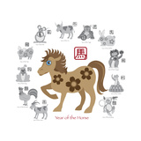 Chinese New Year Horse Color with Twelve Zodiacs Illustration Prints by  jpldesigns