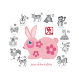 Chinese New Year Rabbit Color with Twelve Zodiacs Illustration Posters by  jpldesigns