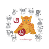 Chinese New Year Tiger Color with Twelve Zodiacs Illustration Prints by  jpldesigns