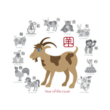 Chinese New Year Goat Color with Twelve Zodiacs Illustration Posters af jpldesigns