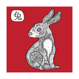 Chinese Zodiac. Animal Astrological Sign. Rabbit. Premium Giclee Print by  Katyau