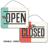 Yes, We're Open - No, We're Closed (double-sided with chain) Plakietka emaliowana