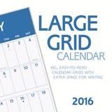 Large Grid Blue  - 2016 Calendar Calendars
