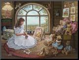 Jenny Paints Her Bears Mounted Print by Janet Kruskamp