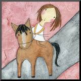 Pink Horse Mounted Print by Carla Sonheim