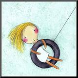 Tire Swing Mounted Print by Carla Sonheim