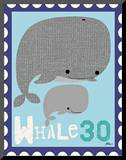Animal Stamps - Whale Mounted Print by Jillian Phillips
