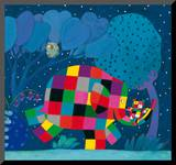 Elmer and the Lost Teddy Mounted Print by David Mckee