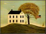 House with Flag Mounted Print by Warren Kimble