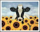 Surrounded by Sunflowers Mounted Print by Lowell Herrero